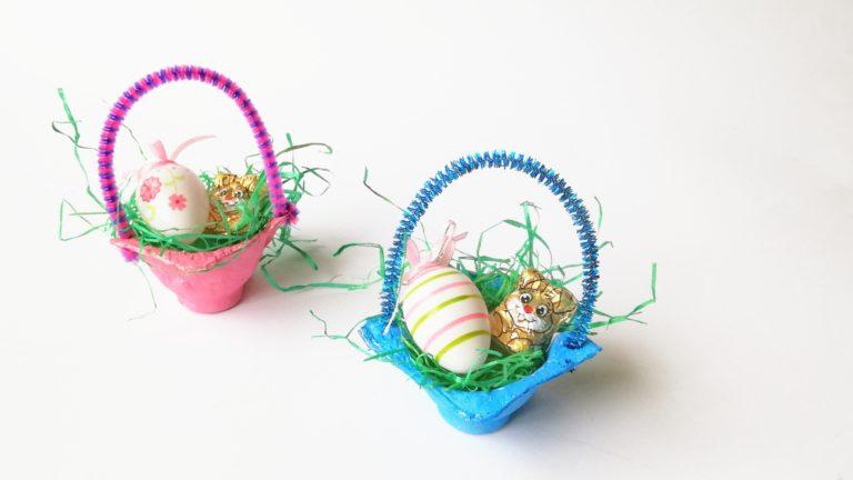 Kleine Osterkörbchen aus Eierkarton