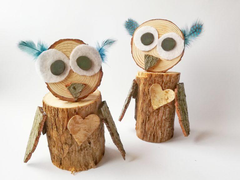 Wunderschöne Eulen aus Holz basteln