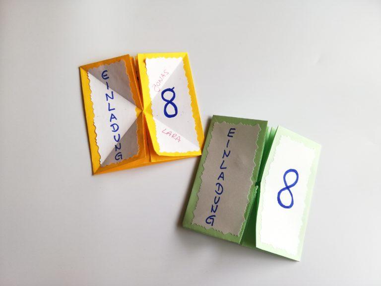 Einladung zum KinderGeburtstag im Origami-Stil